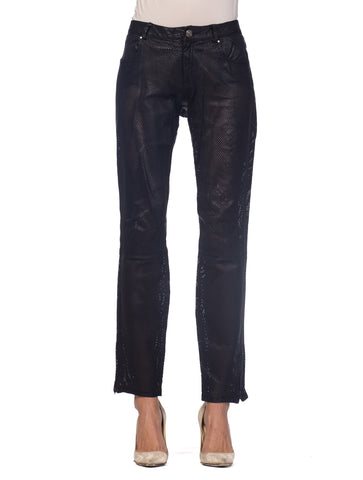 Perforated Leather Pants