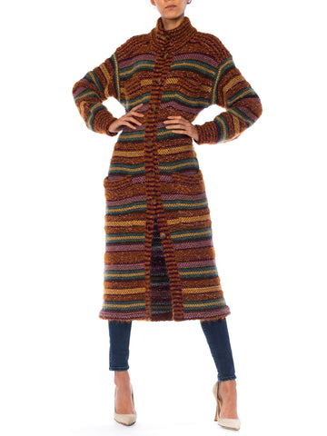 Missoni Chunky Striped Knit Maxi Cardigan Jacket