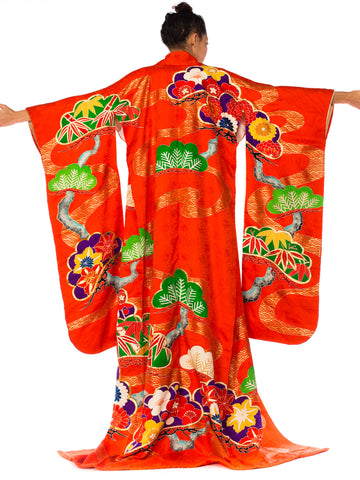Orange Metallic Embroidered Bamboo Floral Long Kimono