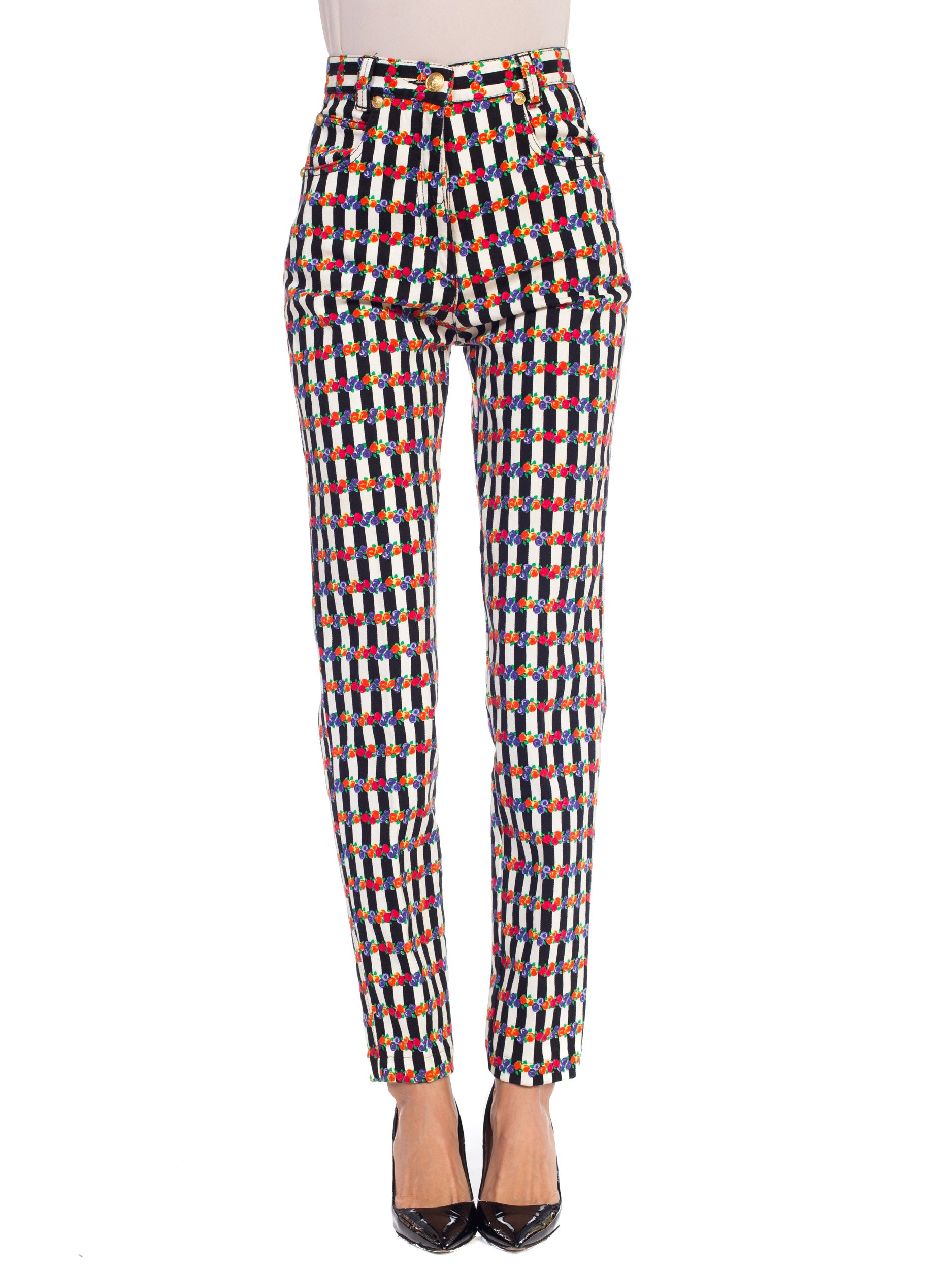 1990S GIANNI VERSACE  Floral Striped Jeans Pants
