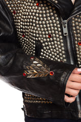 1990s Jeff Hamilton Fully Studded Leather Biker Jacket With Crystals and Eagle