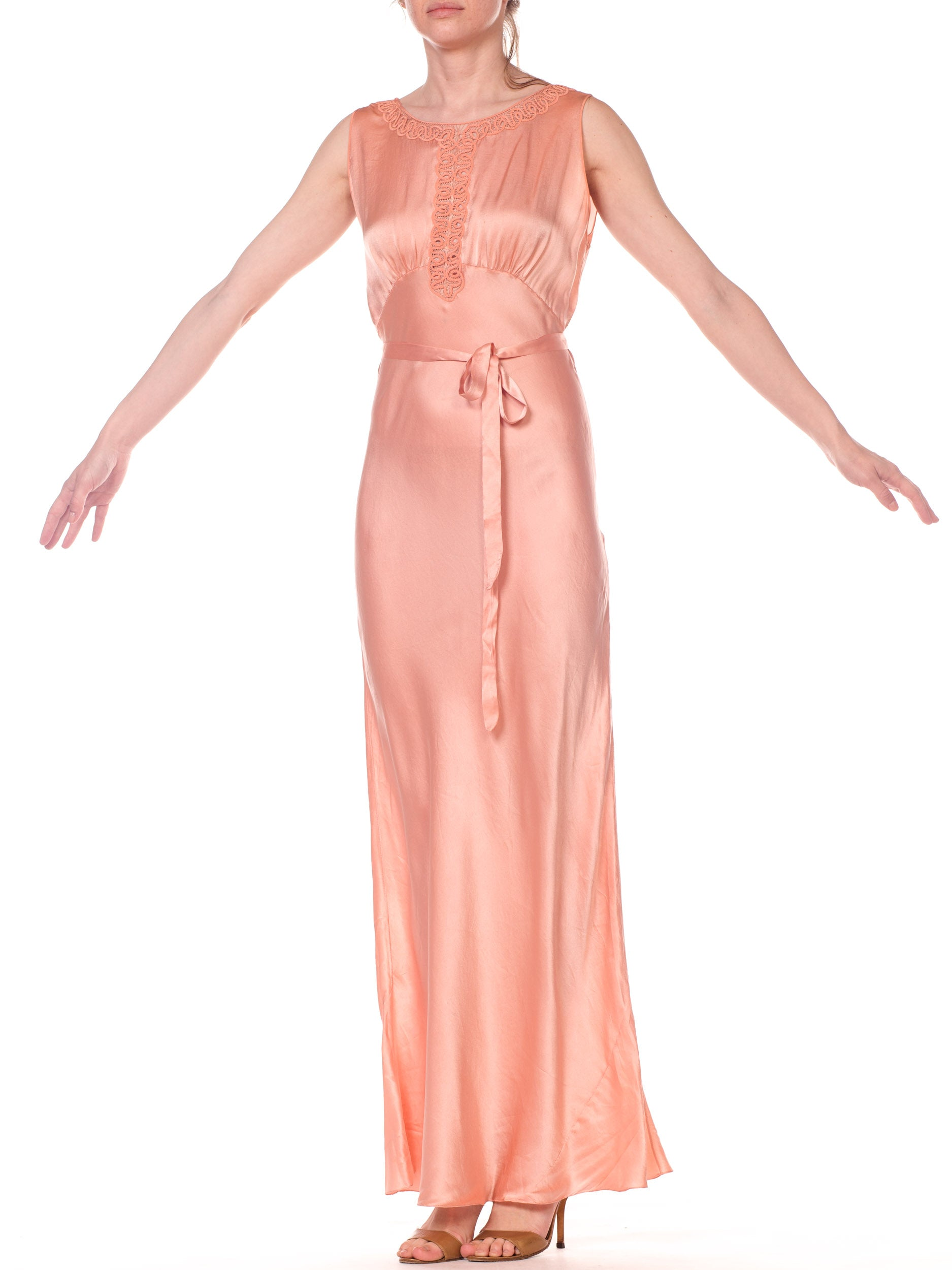 1930S Blush Pink Haute Couture Silk Charmeuse Bias Cut Negligee With Handmade Lace Neckline