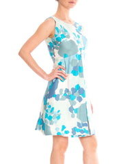 1950's silk blue mod mini dress with abstract print