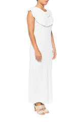 1930s Rayon White Gown with Rose