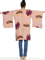 1940s Hand-Printed Silk Kimono with Butterflies & Bouquets