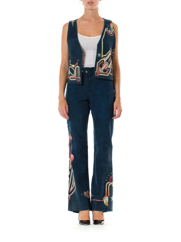 1970S Blue Hand Painted Suede Glam Rock Star Pants And Vest  Ensemble