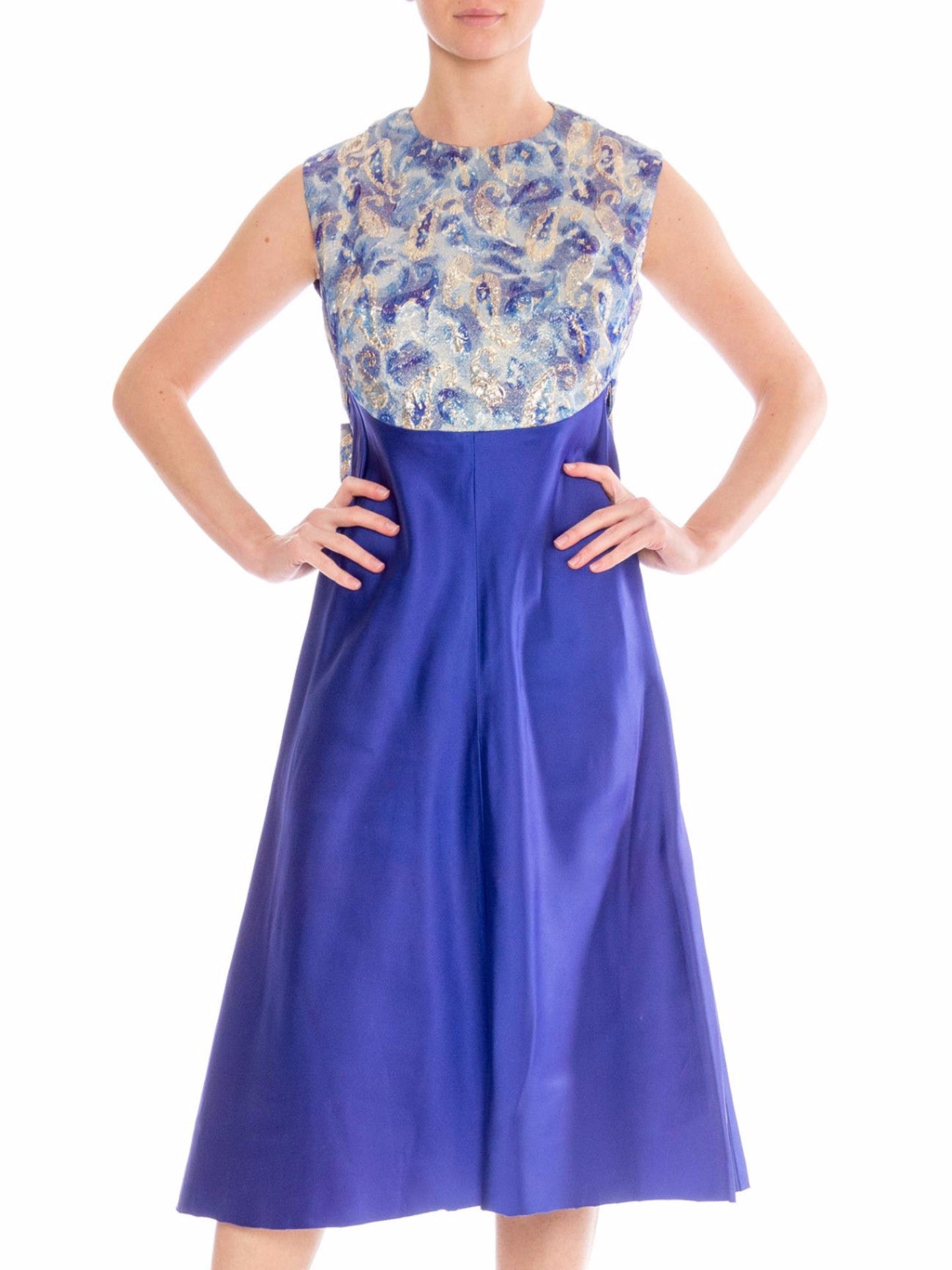 1960\'s Blue Cocktail jacquard Dress with Silver and Gold Lurex ...