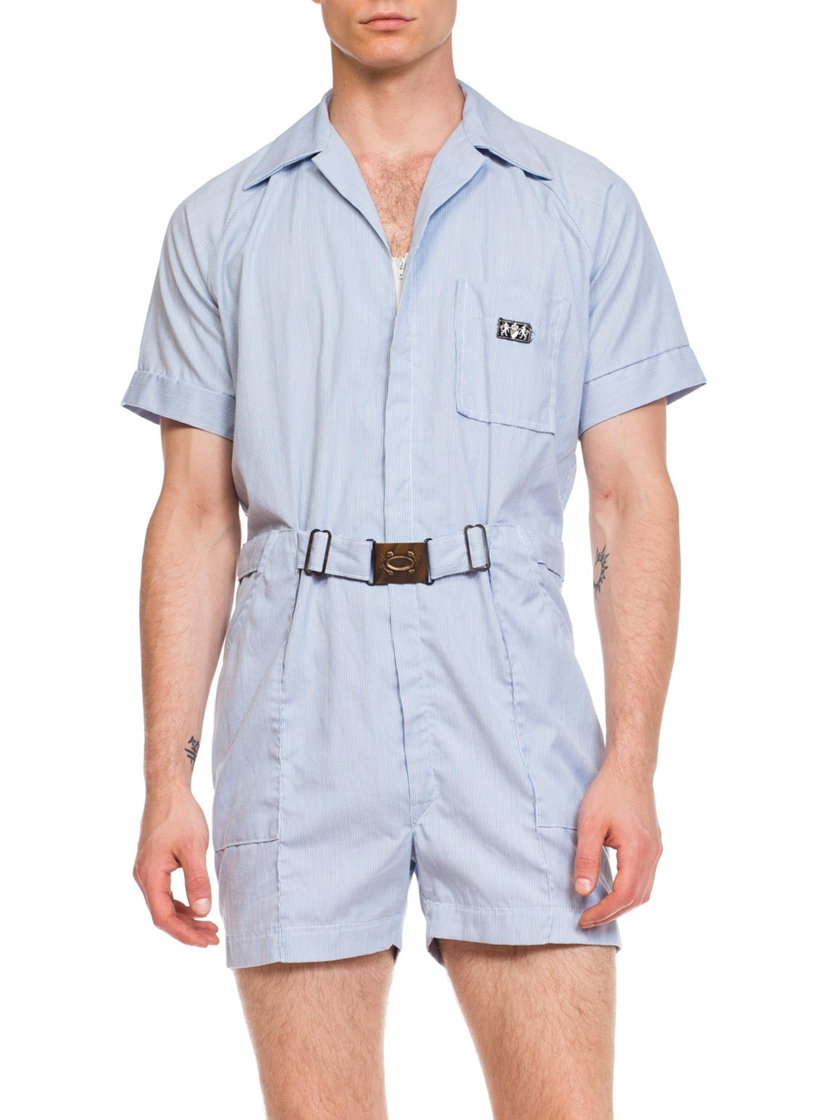 1950s Railroad Stripe Workwear Short Jumpsuit Romper