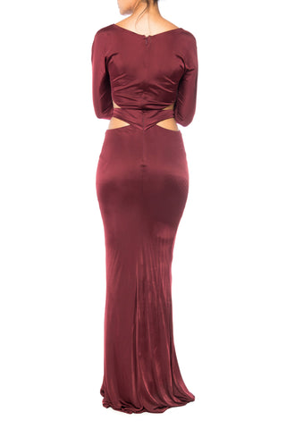 1990S Roberto Cavalli Burgundy Silk Jersey Slinky Sexy Gown Dress