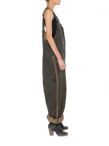 1970S Olive Green Poly/Cotton Sateen Men's Utility Overalls With Side Zippers