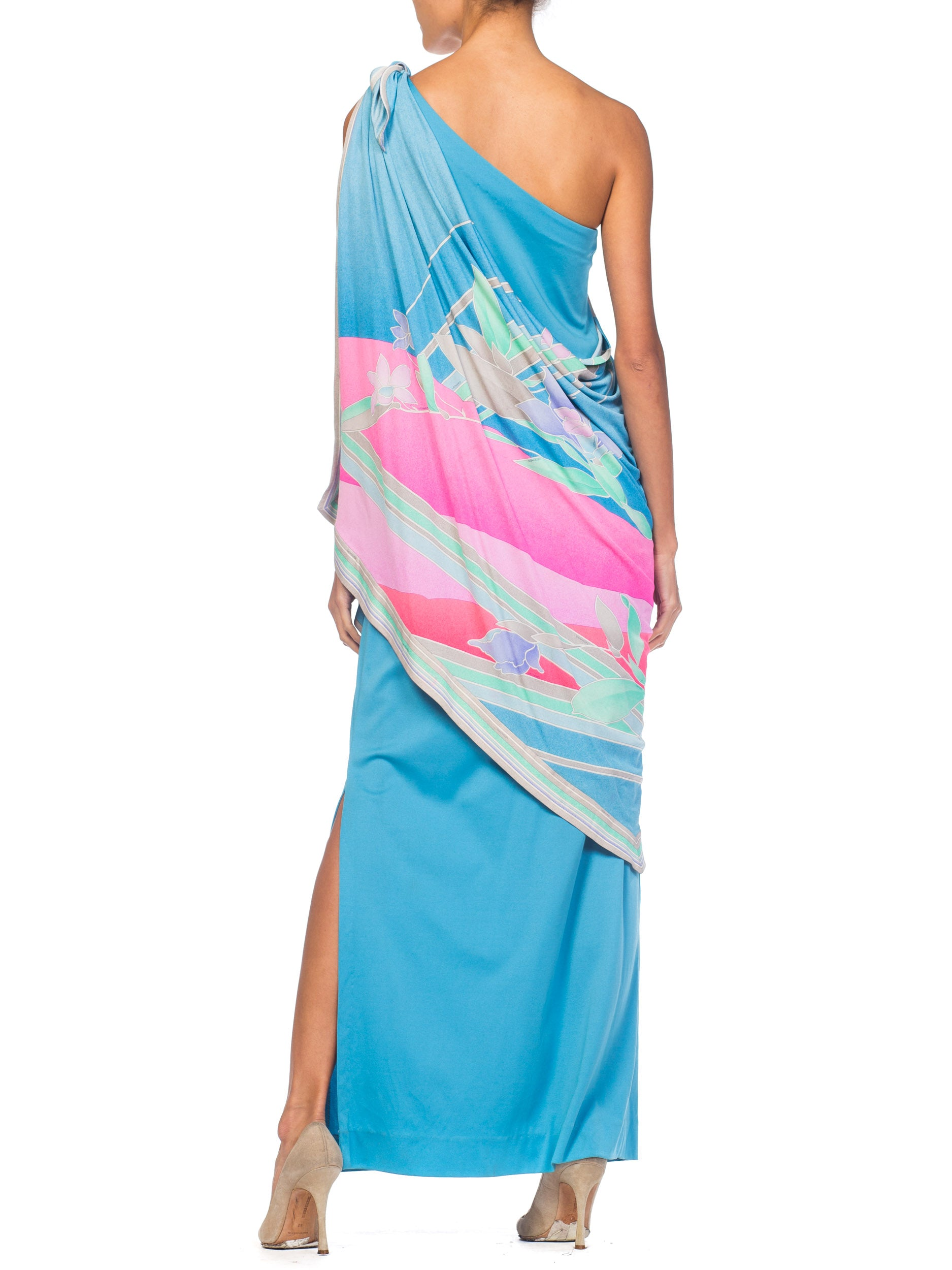 1970S LEONARD Aqua & Pink Silk Jersey Draped One Shoulder Tropical Floral Gown