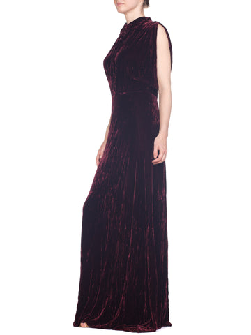 1930S Burgundy Bias Cut Silk Velvet Draped Bodice & Open Sleeve Gown XL