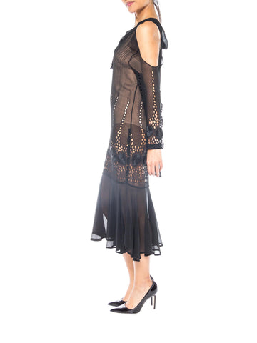 1920S Black Sheer Silk Chiffon Cold Shoulder Long Sleeve Dress With Deco Chanel Style Floral Eyelet Embroidery
