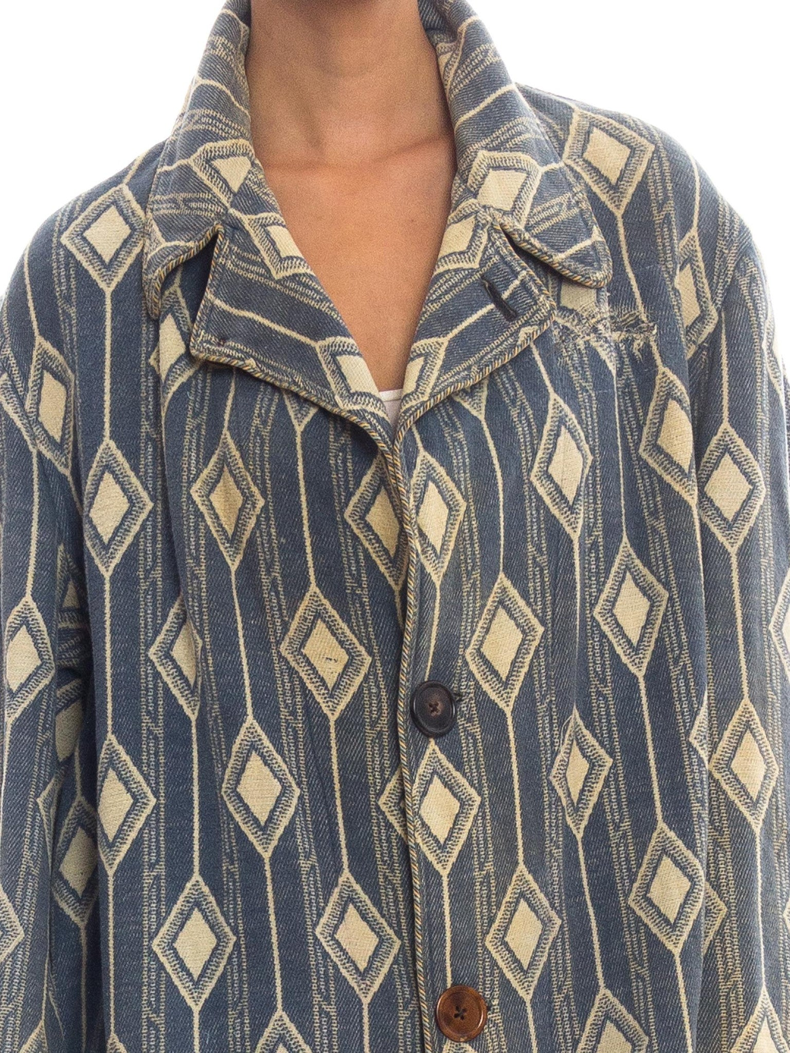 Edwardian POMEROY's INC Blue & White Wool/Cotton Brocade Men's Antique Blanket Coat With Cool Repairs Patina