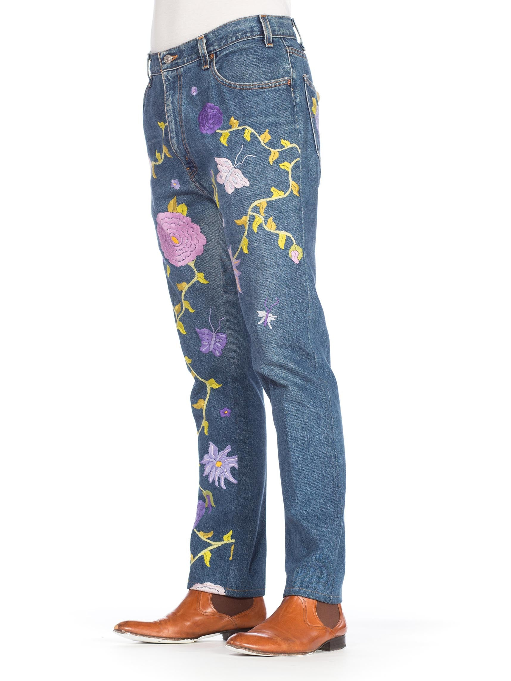 1990S LEVIS Men's Hippie Boho Floral Embroidered Jeans
