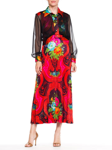 Slinky Psycadellic Floral Dress With Sheer Jacket With Crystals