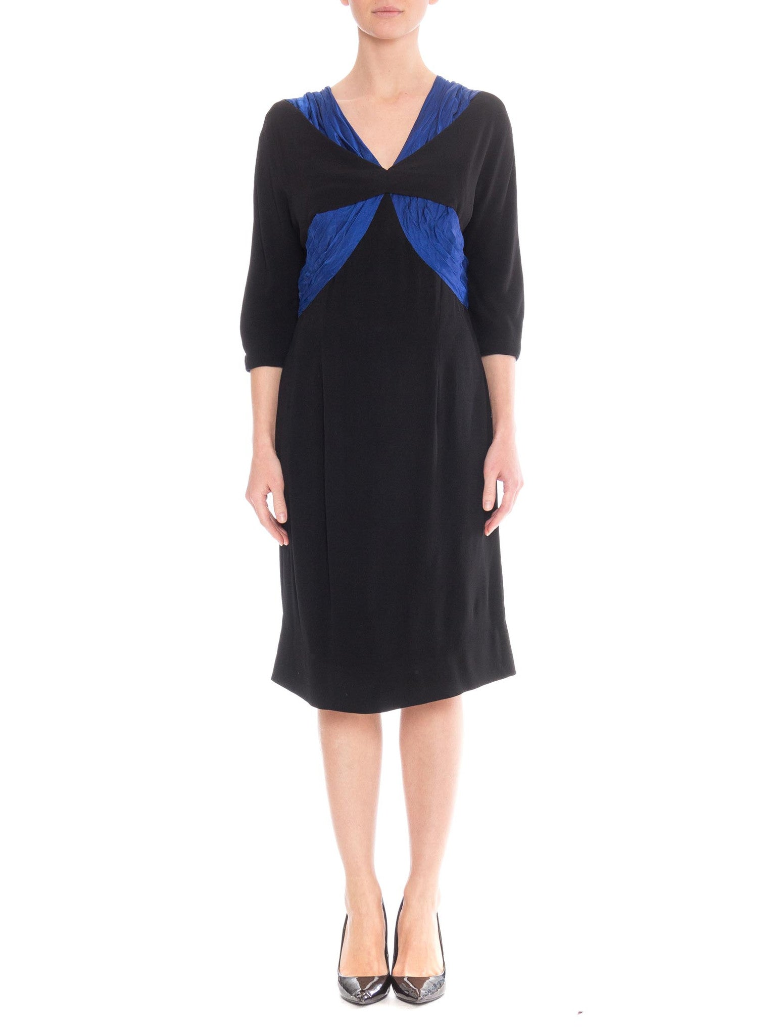 1950's black silk dress with blue silk pleating