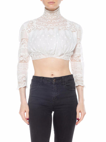Victorian White Lace Top with High Neck and Polka Dot Embroidery