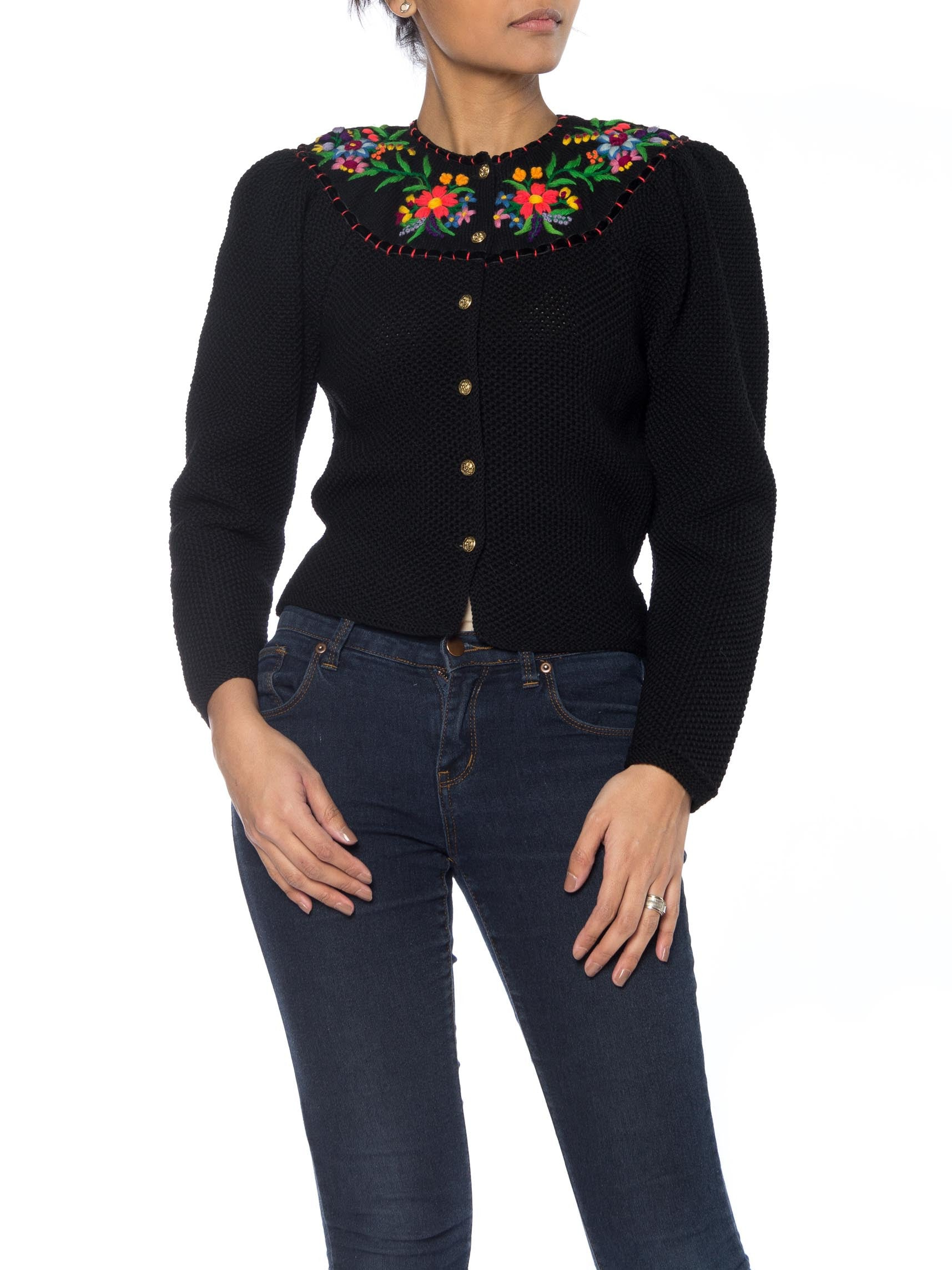 Black Sweater with Multicolor Floral Ethnic Embroidery