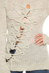 Jean Paul Gaultier Alpaca Turtleneck Sweater with Asymmetrical Frog Closures