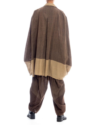 1980S ISSEY MIYAKE Tan & Brown Wool Blend Oversized Shirt Pleated Pants Ensemble