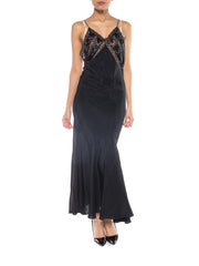 Morphew Collection Black Bias Cut Rayon & Silk Crepe Backless 1930S Gown With Edwardian Beaded Lace