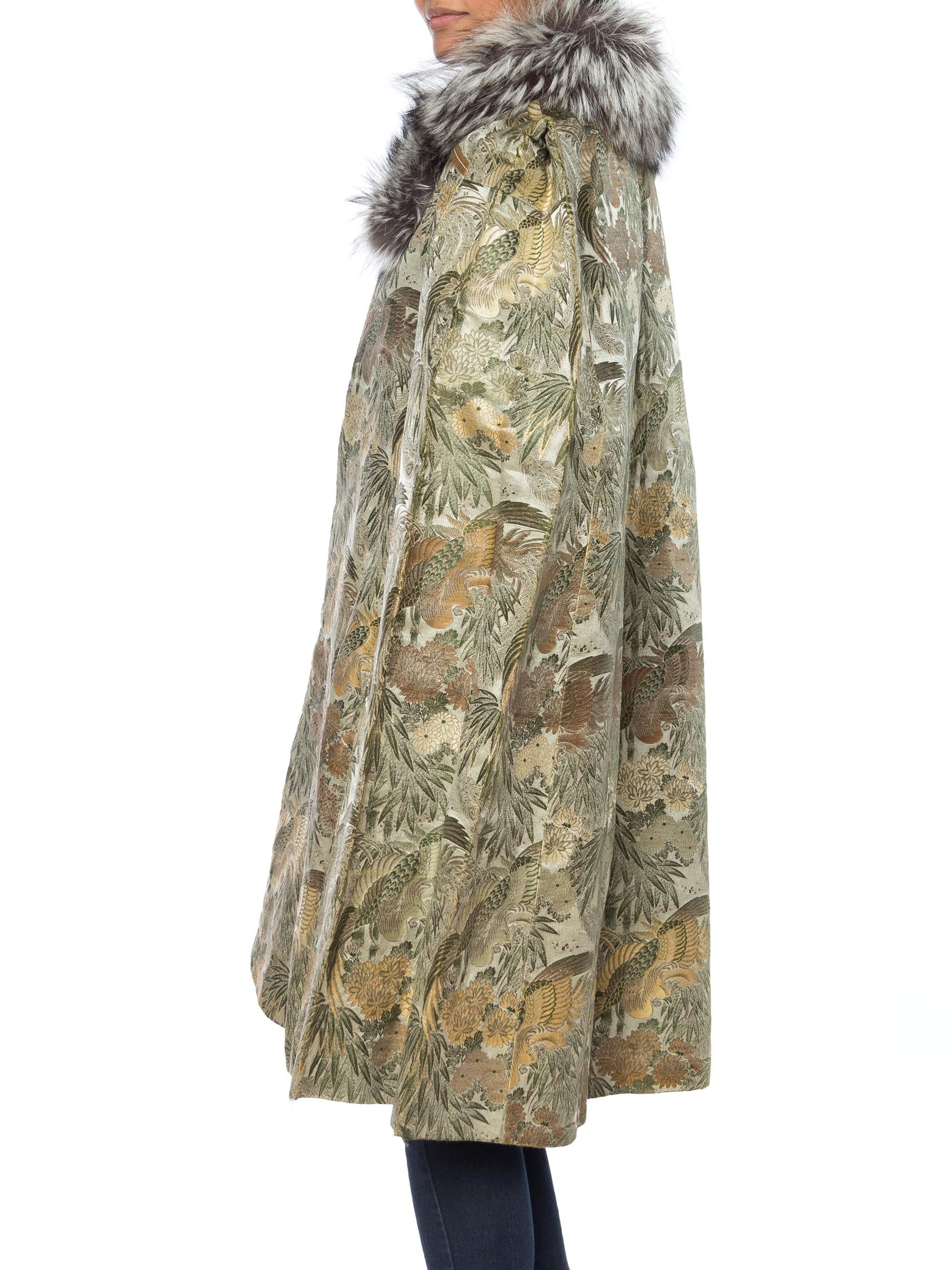 1940S Green & Gold Silk Cape Made From Antique Japanese Jacquard With Fox Fur Collar