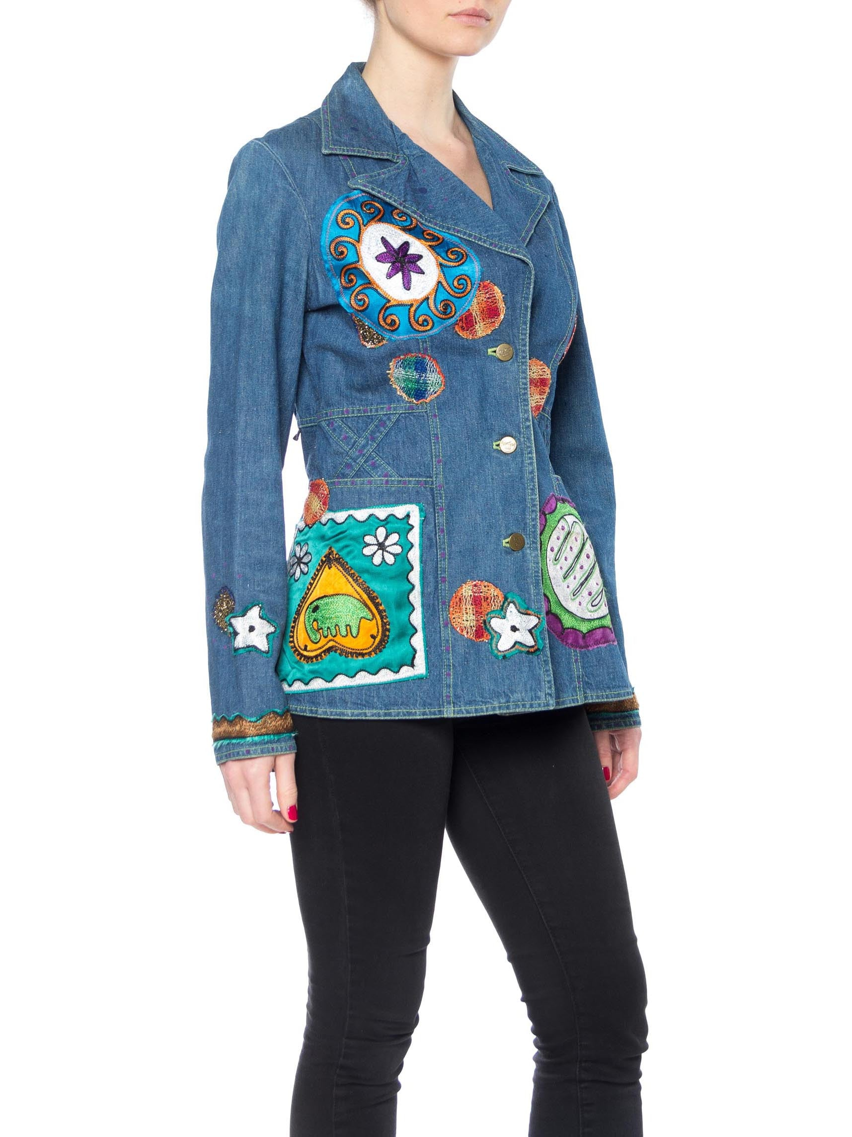 Morphew Collection Cotton Denim Blazer  With Multicolor Embroidery & Patches