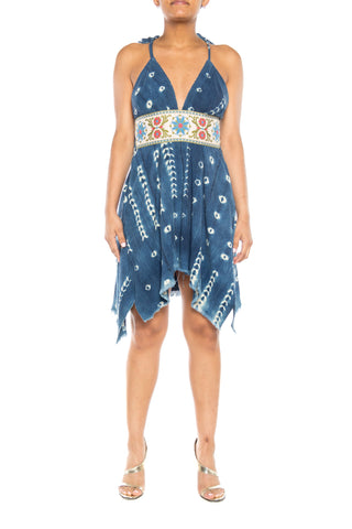 Morphew Lab Indigo Dress With Embroidered Ribbon