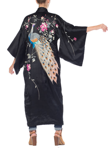 1900S Hand Embroidered Silk Antique Edwardian Peacock  Kimono