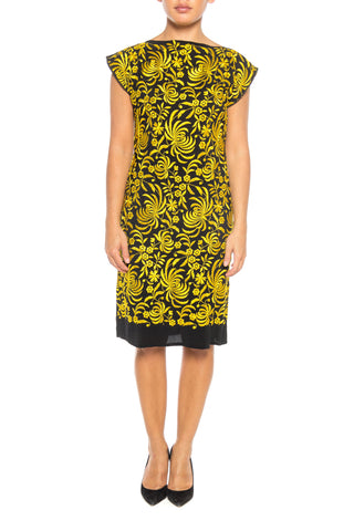 Black and Yellow Embroidered Dress