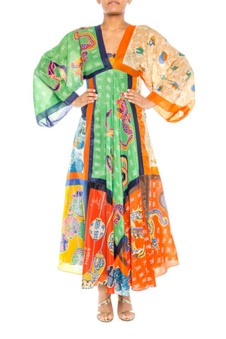 1970s Asian Dragon Scarf Maxi-Dress
