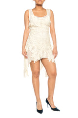 Morphew Collection Ecru Cotton & Lace Adjustable Size Dress