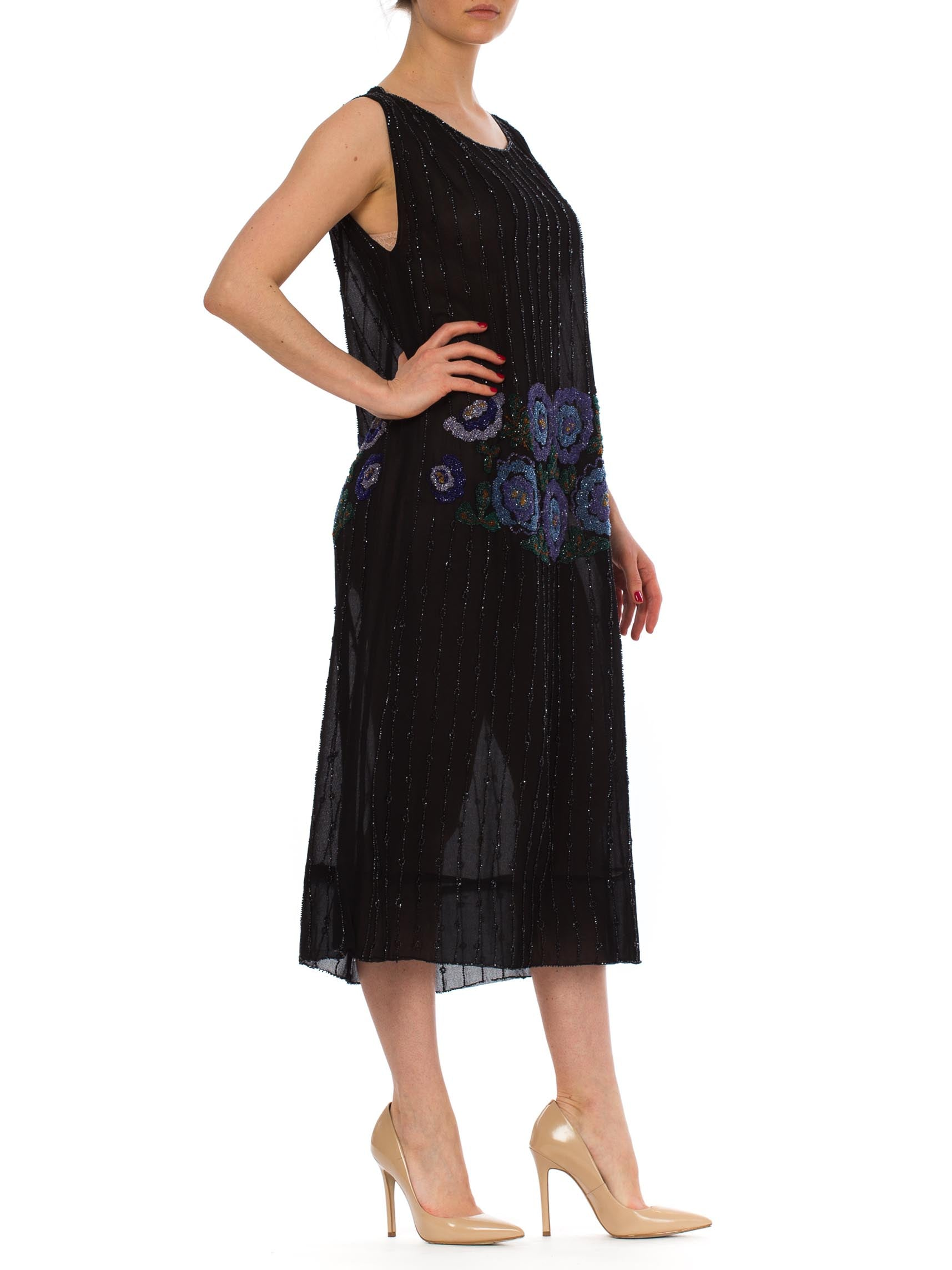 1920S Black Silk Chiffon Flapper Dress With Blue & Green Floral Beadwork