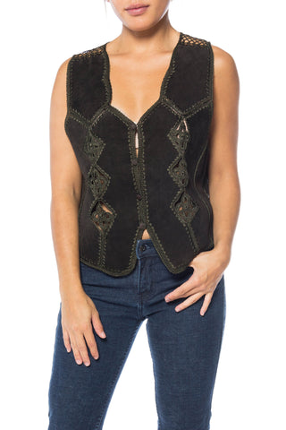 Pieced Suede Vest With Crochet