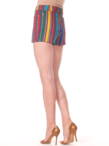 1990S Gianni Versace Rainbow Striped Cotton Denim Shorts
