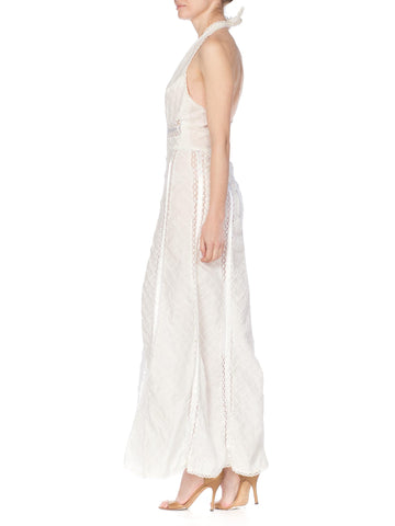 1970s  Boho White Lace Backless Halter Beach Dress