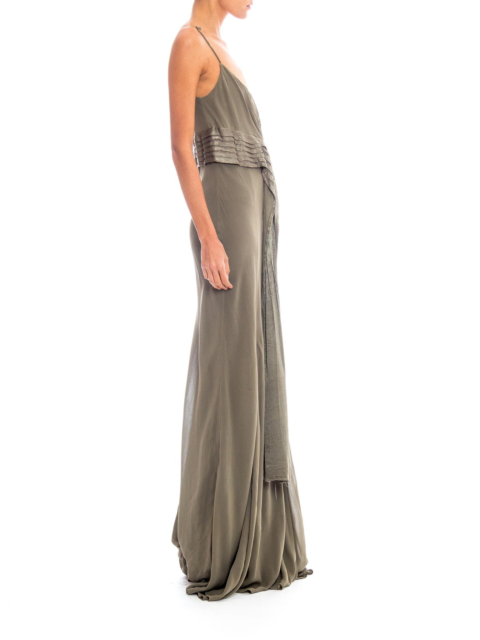 1990S Ghost Olive Green Bias Cut Rayon Chiffon Gown