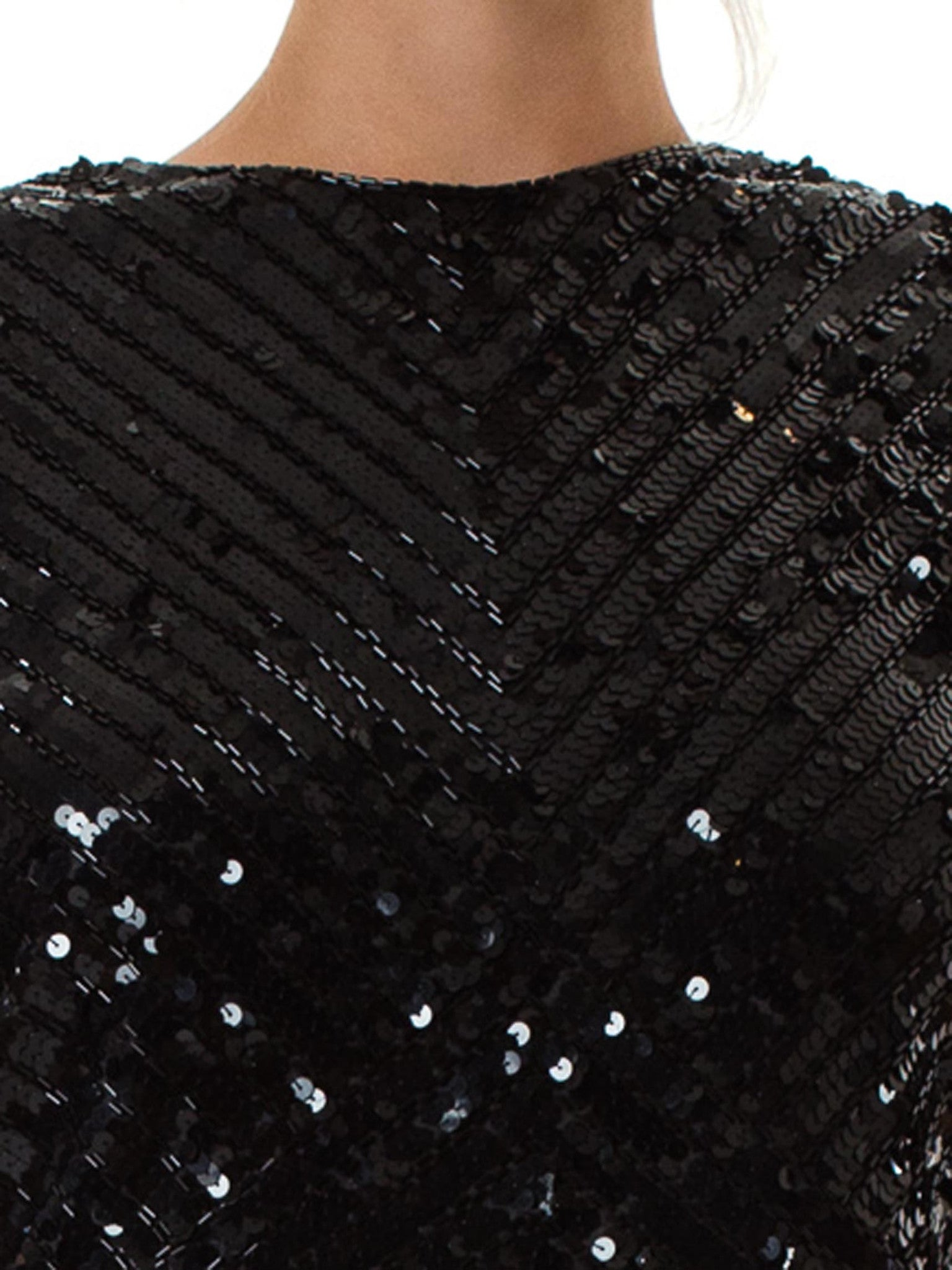 1980S Bead Encrusted Black Body-Con Cocktail Dress
