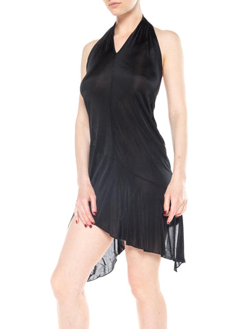 1990S JOHN GALLIANO CHRISTIAN DIOR Black Sheer Jersey Slinky Cocktail Dress