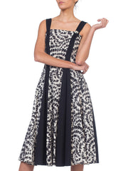 1950s Black & White Fit & Flare Cotton Dress