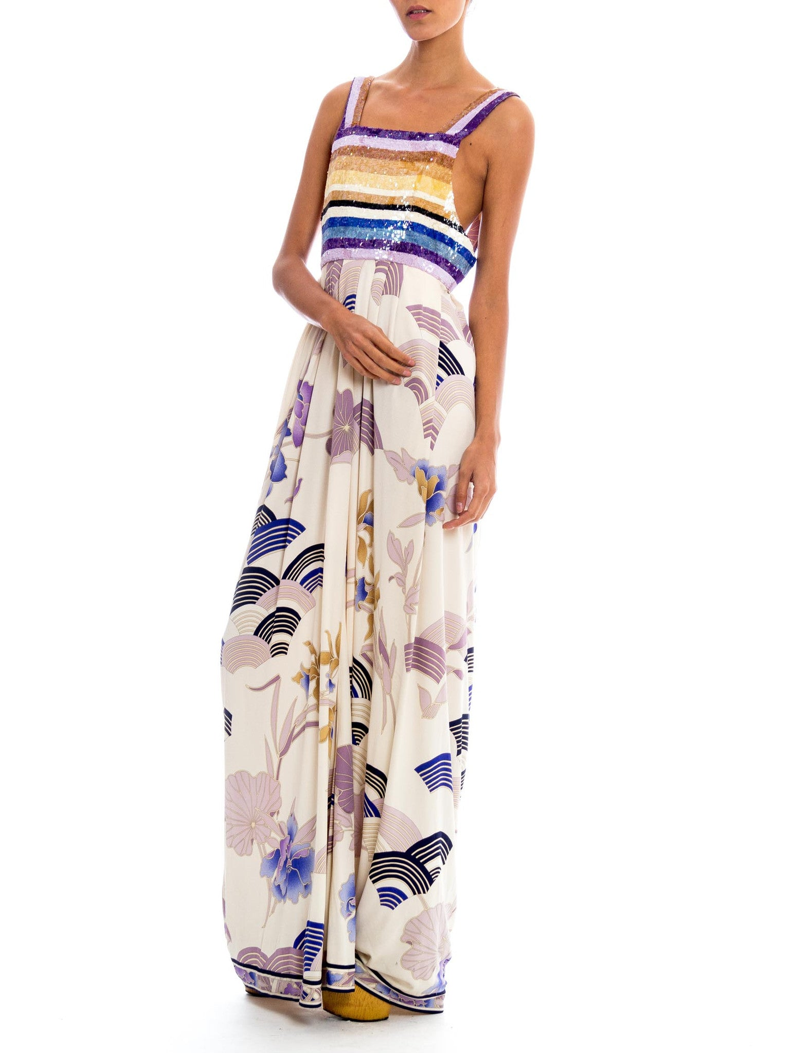 1990S LEONARD Purple & Blue Silk Jersey Asian Floral Print Gown With Striped Sequined Bodice