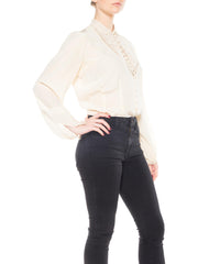 Ivory Silk Long Sleeve Top with Soutache Lace