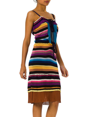 2000S MISSONI Purple & Blue Rayon Knit Stripe Drawstring Waist Dress With Pleated Ruffles
