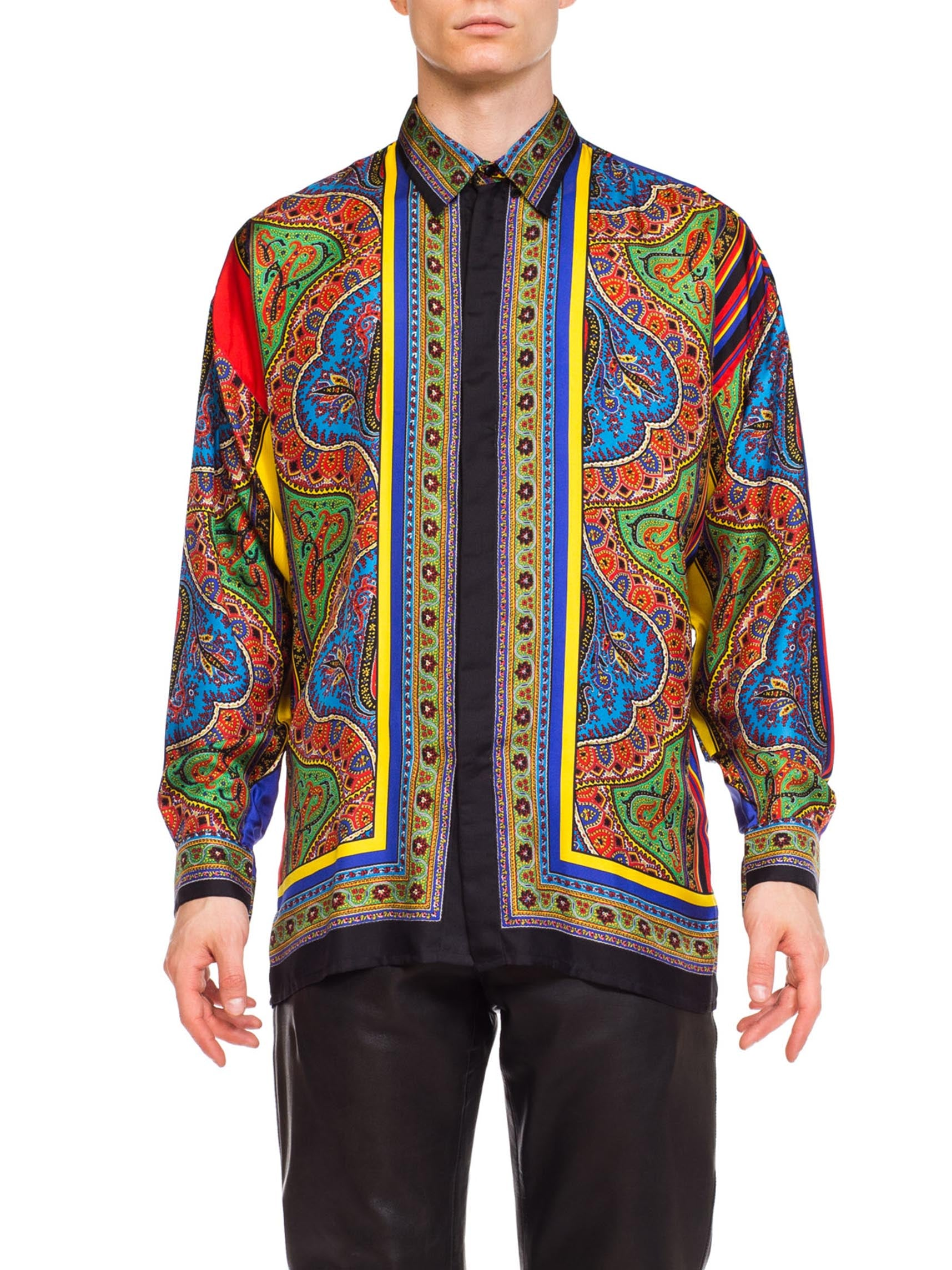 1990S Gianni Versace Silk Men's Istante Paisley Scarf Print Shirt