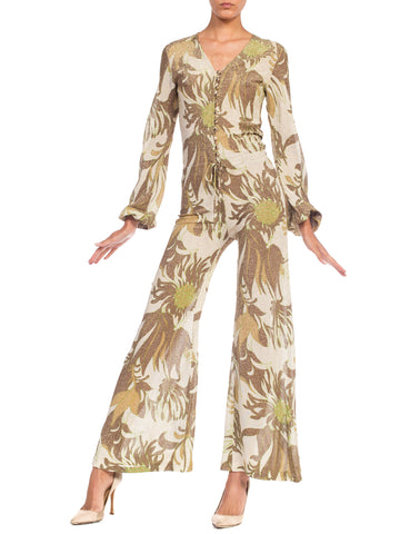 Gold Lurex Floral Disco Jumpsuit