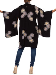 1940s Black Silk with Chrysanthemums Japanese Kimono