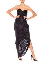 Black Strapless Gown with High Slit