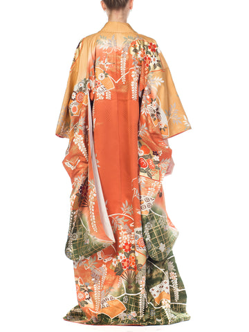 1970S Floral Japanese Print With Fans  Kimono