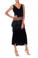 1920s Black Velvet Spaghetti Strap Dress With Chiffon Ruffle Skirt